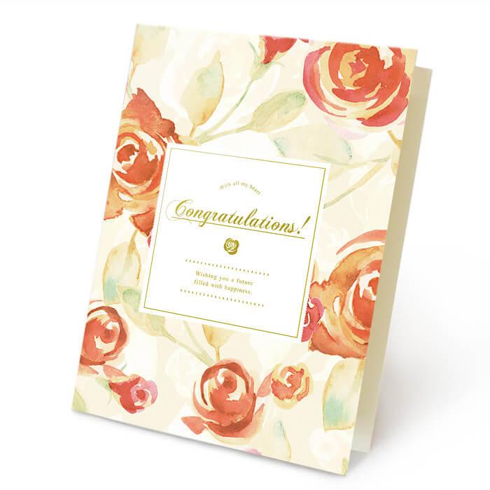 暖かな色合いのバラと、繊細なラインを描くゴールドの箔押し