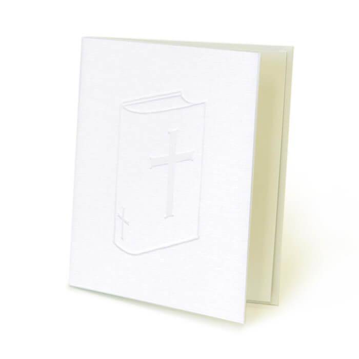 立体的に描かれた聖書が神聖な印象を与えるカードです
