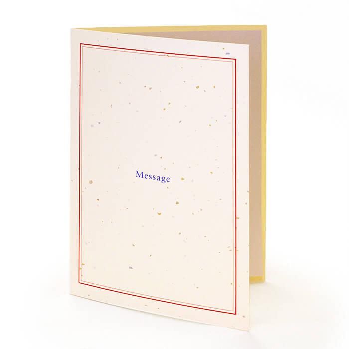 """""""Message""""の文字が書かれた、シンプルでありながら趣きのあるカードです"""