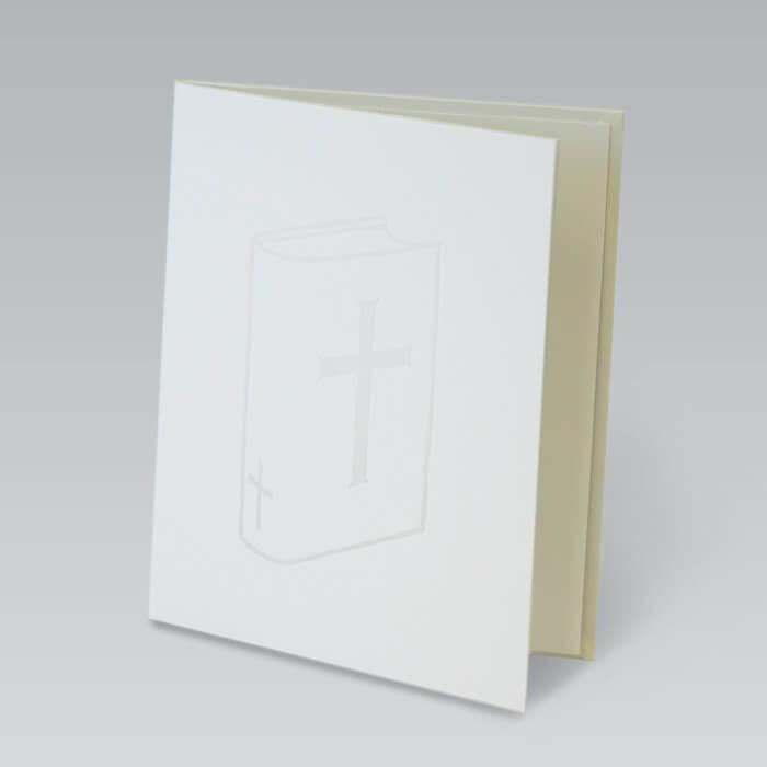 純白の生地にデボス加工で立体的に描かれた聖書