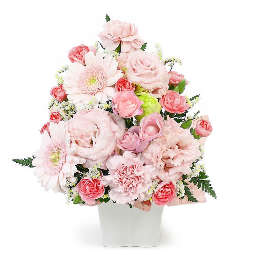 結婚式・誕生日・開店祝いにオススメのフラワー電報「お任せアレンジメント・Cutieピンク」