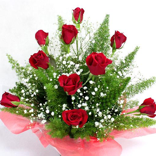 真っ赤なバラ10本のアレンジメントフラワー