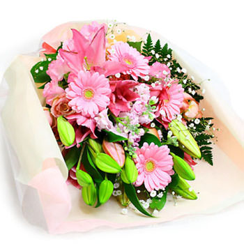 「華やかなユリの花束・ピンク」サムネイル