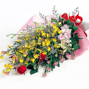 「華やかなランとバラの花束」サムネイル