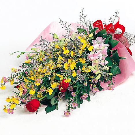 「華やかなランとバラの花束」