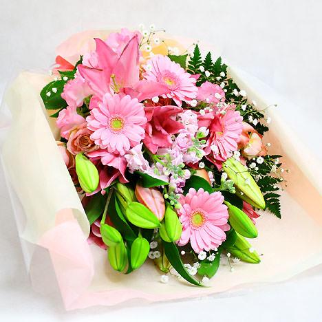 「華やかなユリの花束・ピンク」