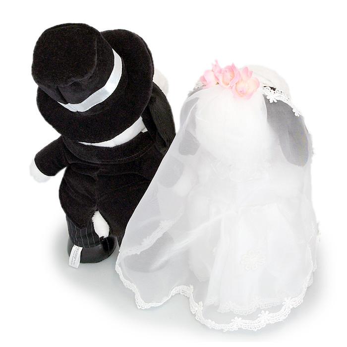 花婿と花嫁の衣装を身に着け、新郎新婦を祝福しています