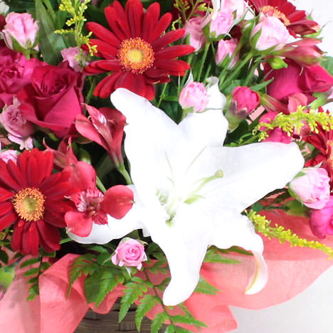 白ユリと赤系の花のコントラストが力強い