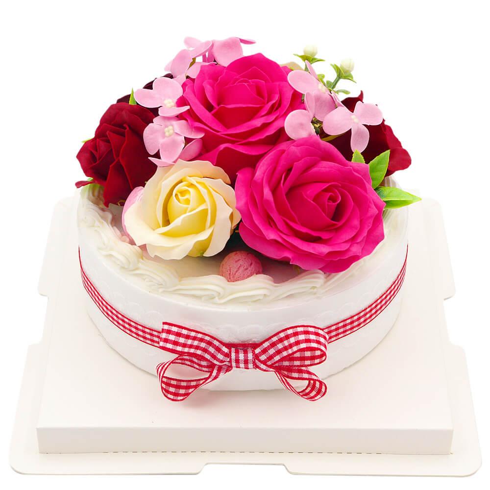 フレグランスソープフラワーをデコレーションケーキのように飾りつけ